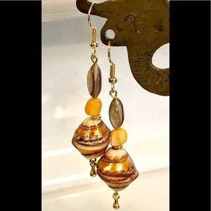 Orange Gold Beige Striped Shell Cone  Earrings
